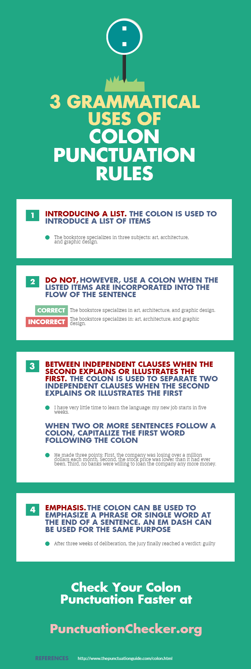 3 grammatical uses of colon punctuation rules